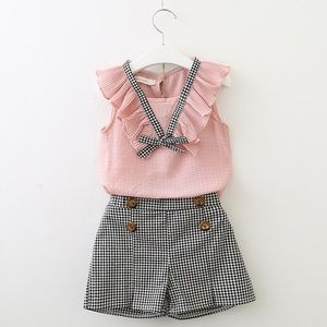 Other - Girls Shirt+Shorts+Belt 2pcs Clothing Sets
